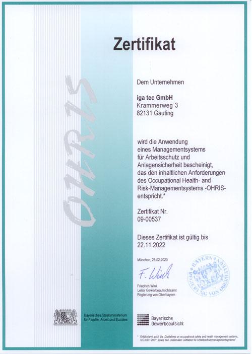 Zertifikat Ohris iga-tec